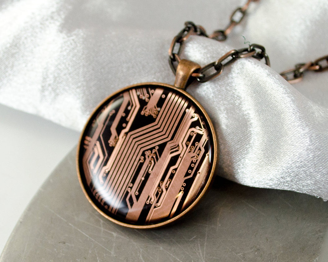 large copper circuit board statement necklace