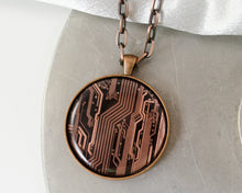 Load image into Gallery viewer, Large Copper Circuit Board Necklace
