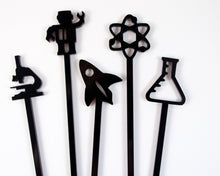 Load image into Gallery viewer, black acrylic set of science cocktail swizzles