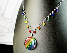 Load image into Gallery viewer, rainbow circuit board necklace with swarovski crystal rainbow fringe