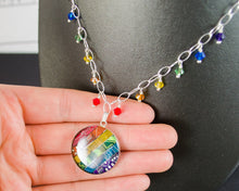 Load image into Gallery viewer, Rainbow Circuit Board Necklace with Crystal Fringe