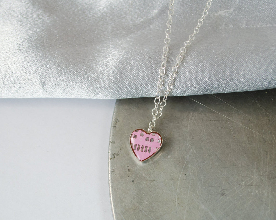 tiny pink circuit board heart necklace