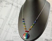 Load image into Gallery viewer, Rainbow Circuit Necklace with Rainbow Beaded Chain
