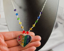 Load image into Gallery viewer, Rainbow Circuit Heart Necklace with Rainbow Beaded Chain
