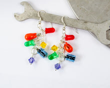 Load image into Gallery viewer, Rainbow Electronic Component Cluster Earrings, Sterling Silver
