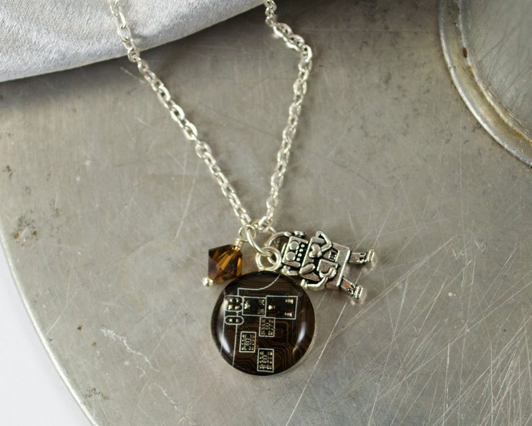 Robot and Circuit Board Charm Necklace