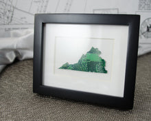 Load image into Gallery viewer, custom mini state framed art piece made from upcycled motherboards