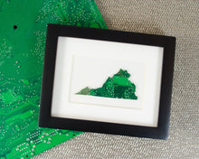 Load image into Gallery viewer, custom virginia mini framed art made from recycled circuit board