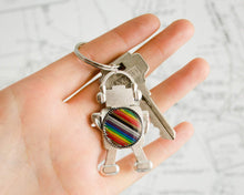 Load image into Gallery viewer, Rainbow Robot Keychain