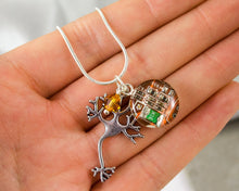 Load image into Gallery viewer, Neuron and Circuit Board Charm Necklace