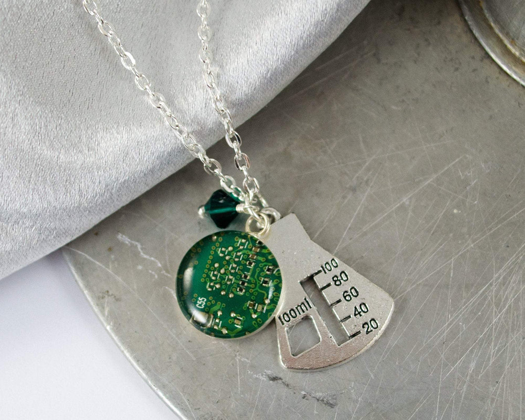 Erlenmeyer Flask and Circuit Board Charm Necklace