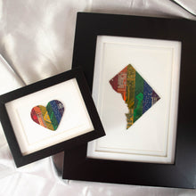 Load image into Gallery viewer, heart and washington dc framed art made from rainbow circuit boards
