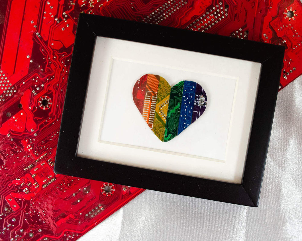 mini framed art made with rainbow circuit board pieces