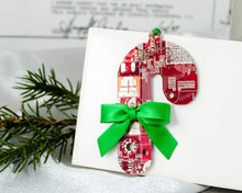 Load image into Gallery viewer, red and green candy cane ornament made from recycled circuit board