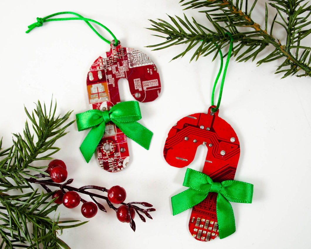 red and green candy cane ornaments made from broken electronics