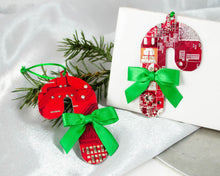 Load image into Gallery viewer, Circuit Board Candy Cane Ornament with Bow