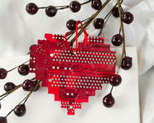 Load image into Gallery viewer, Pixelated Heart Circuit Board Ornament