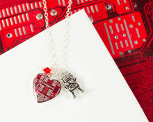 Load image into Gallery viewer, Heart Circuit Board Charm Necklace with Robot