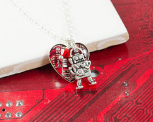 Load image into Gallery viewer, heart shaped circuit board necklace with robot charm