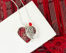 Load image into Gallery viewer, circuit board heart necklace with anatomical heart charm