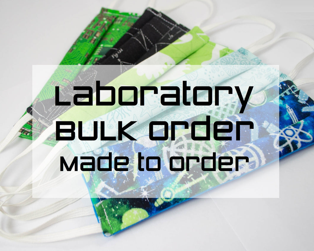bulk wholesale order fabric face masks for laboratory and office with STEM, science, technology, engineering, and math themes. Handmade in USA