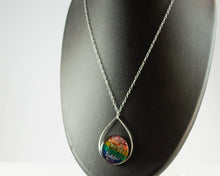 Load image into Gallery viewer, Floating Rainbow Teardrop Necklace - Sterling Silver