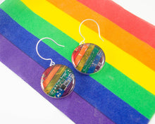 Load image into Gallery viewer, Circuit Board Rainbow Earrings - Sterling Silver