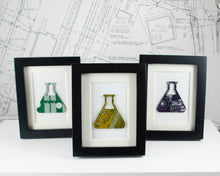 Load image into Gallery viewer, handmade miniature art piece made from recycled circuit board in the shape of an Erlenmeyer flask
