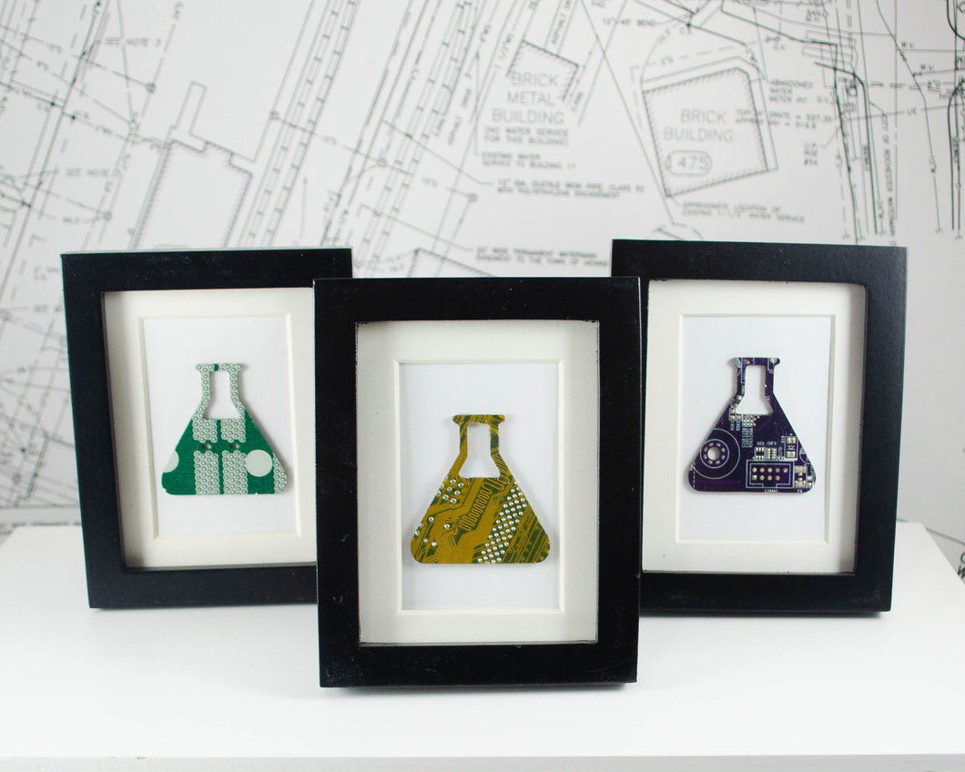 handmade miniature art piece made from recycled circuit board in the shape of an Erlenmeyer flask