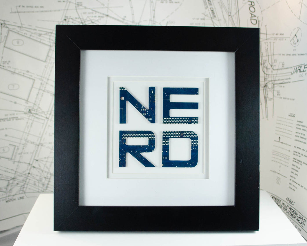 custom handmade framed word art made with recycled circuit board and motherboards