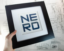 Load image into Gallery viewer, recycled circuit board art spelling out NERD