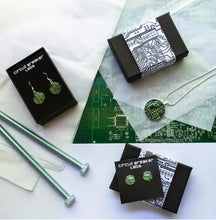 Load image into Gallery viewer, Pink Circuit Board Earrings, Long Dangle