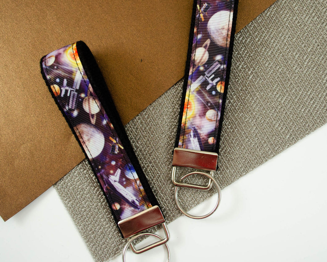 handmade wristlet keyfob keychain made with outer space and space shuttle theme