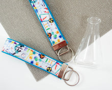 Load image into Gallery viewer, Wristlet Keychain - Laboratory White & Blue