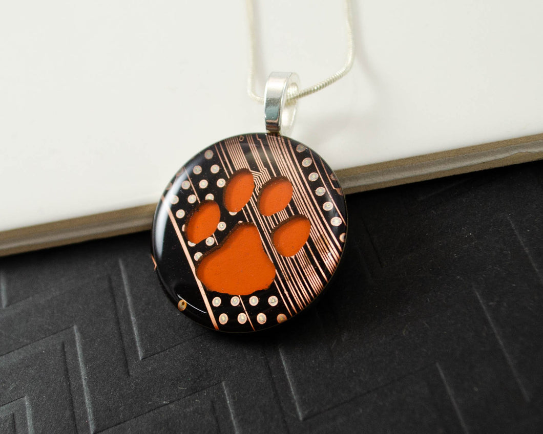 Tiger Paw Circuit Board Necklace