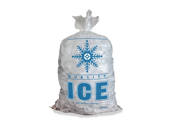 Stock Snowflake 7 lb. Clear Poly Ice Bags (Case of 1000)