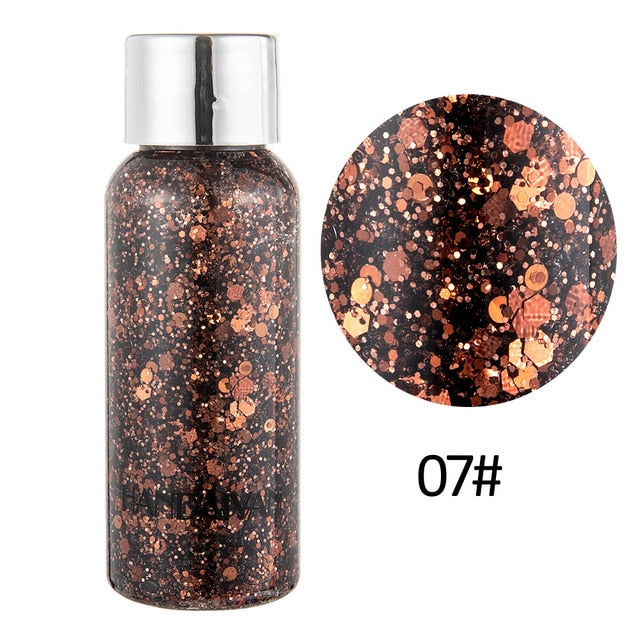 HANDAIYAN 30g Liquid Glitter Eyeshadow Cel Palette Face Body Glitter Flash Heart Sequins Pigment Eye Shadow Decoration TSLM2