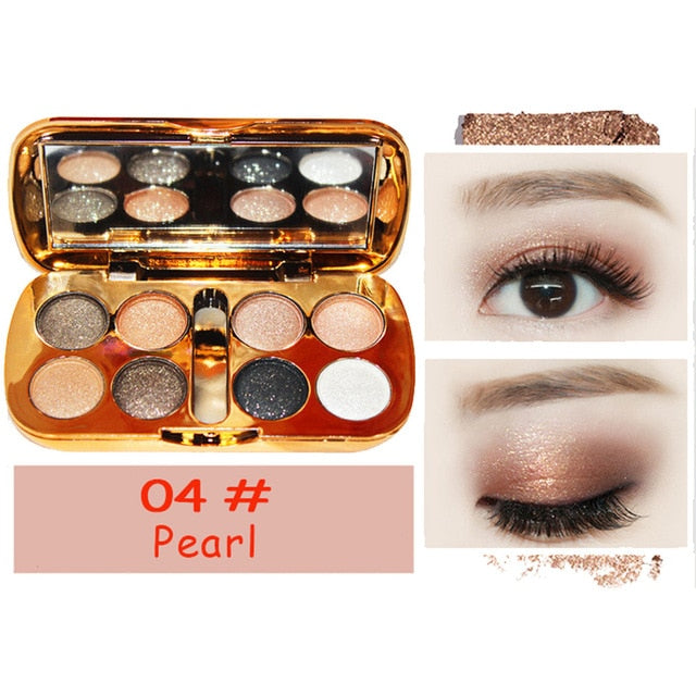 8 Colors Makeup Eyeshadow Palette  Smoky Warm Color Pigments Powder Shadows Pallets Women Fashion Cosmetics #Zer