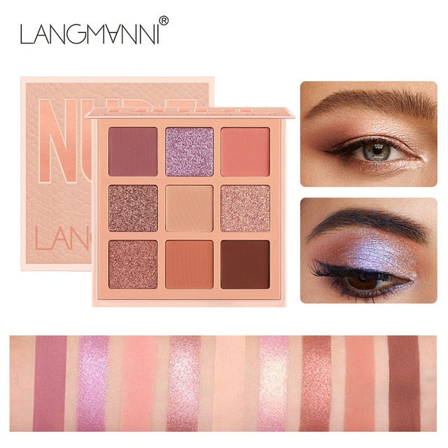Fashion Eyeshadow Palette 9 Colors Matte Eye Shadow Palette Glitter Eyeshadow Nude Make Up Set Long-lasting Effect TSLM1