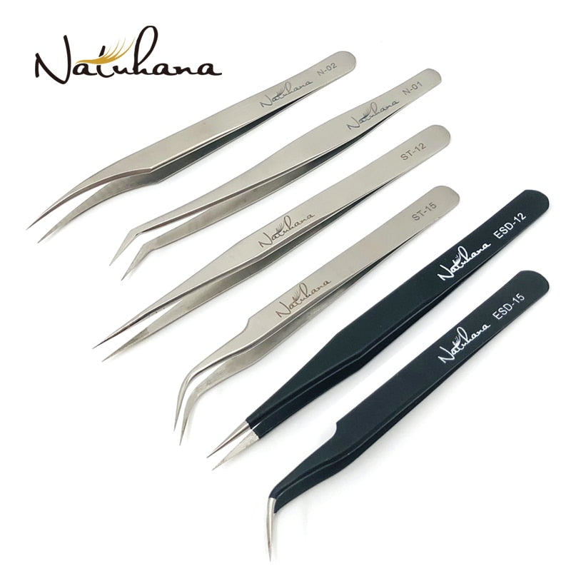 NATUHANA Anti-static Straight Eyelash Extension Tweezers Industrial Precision Curved Straight Lash Eyebrow Tweezers Makeup Tool