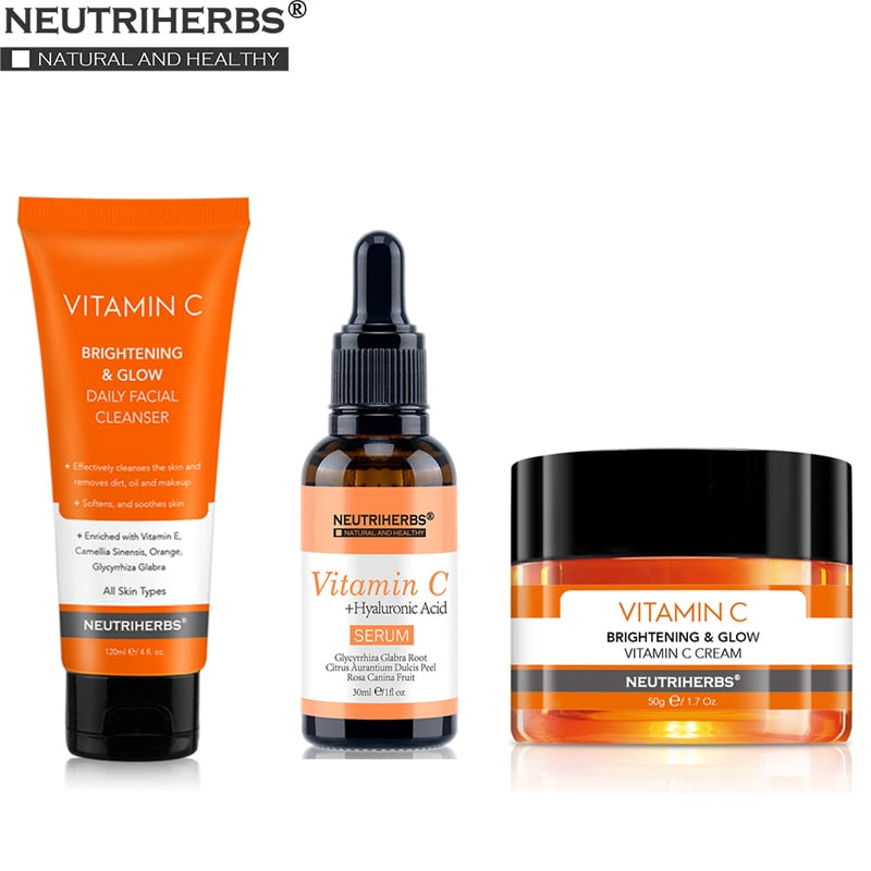 Neutriherbs Vitamin C Serum Face Cleanser Face Cream Cleaning Moisturizing Anti Wrinkle Anti Aging Best Skin Care Set Kit
