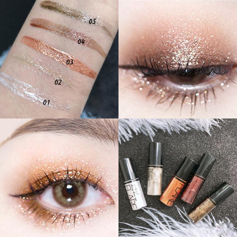 5 Color Makeup Eye Shadow 1pc Pearlescent Metals Glitter Liquid Eyeshadow Single Blend Sparkling Smooth Eyes Cosmetics TSLM2