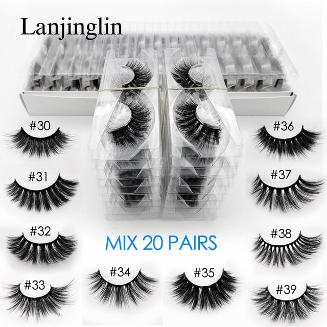 wholesale 3d mink false eyelashes 20/30/40/50/100 pairs fluffy wispy fake lashes natural long makeup lash extension in bulk