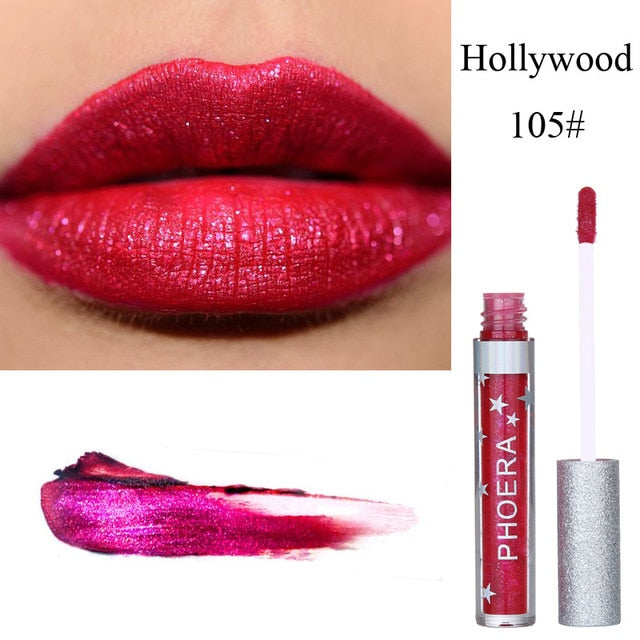 PHOERA Glitter Lip Gloss Liquid Shimmer Matte Lipstick Waterproof Metallic Glitter-Charming Lipgloss Lips Beauty Makeup TSLM2