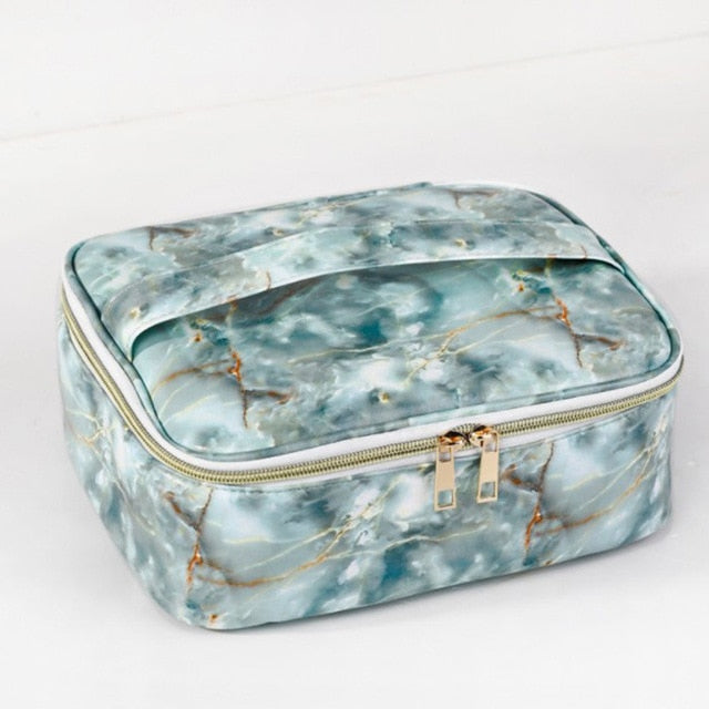 Women PU Marble Veins Cosmetic Bag Zipper Case Makeup Bags Girls Make Up Waterproof Necessaries Storage Organizer Toilet Travel