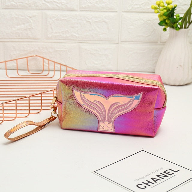 Travel Makeup Case Make Up Bag Portable Pouch Cosmetic Bag Makeup Bag Colorful Mermaid tail Organize Bags  Large Storage