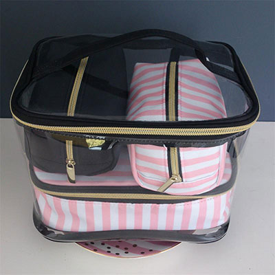 PVC Transparent Cosmetic Bag Organizer Travel Toiletry Bag Set Pink Beauty Case Makeup Case Beautician Vanity Necessaire Trip