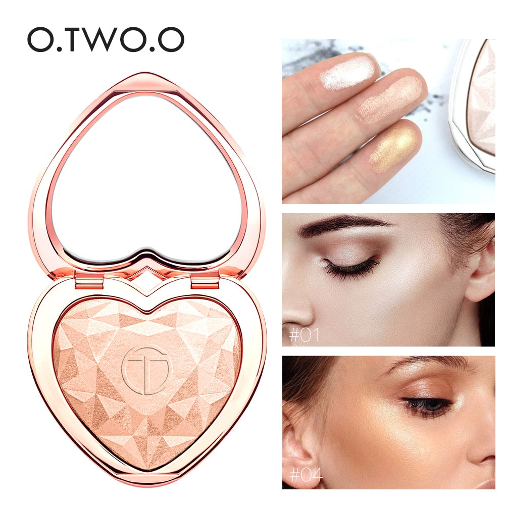 O.TWO.O Shimmer Highlighter Powder Palette Face Contouring Makeup Highlight Face Bronzer Highlighter Brighten Skin 5 Colors