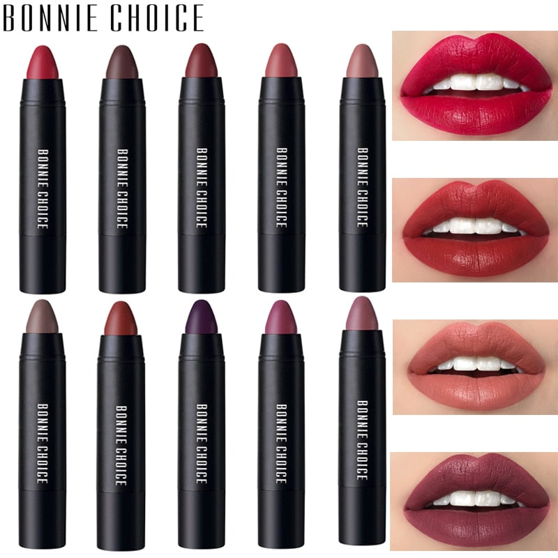 BONNIE CHOICE 10 Colors Matte Lipsticks Waterproof Matte Velvet Lip Sticks Cosmetic Easy to Wear Lipstick Matte Beauty Lipstick