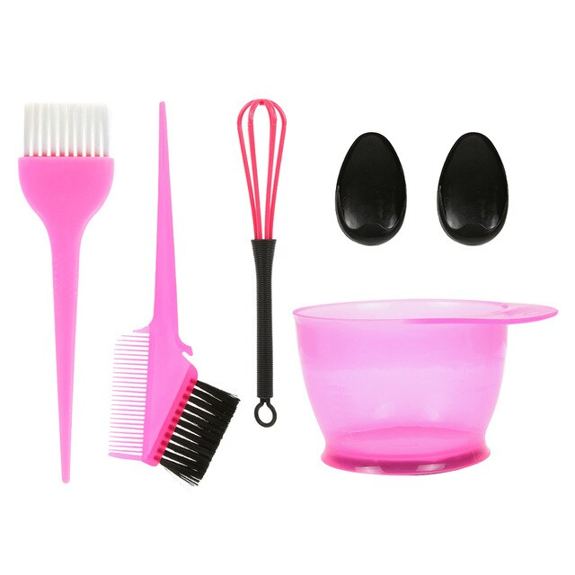 5PCS Hair Dye Color Brush Bowl Set with Ear Caps Dye Mixer Hair Tint Dying Coloring Applicator Hairdressing Styling Accessorie